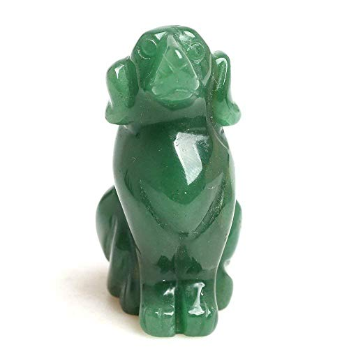 Ruhong 2'' Hand Carved Quartz Crystal Craft Dog Figurine Gemstone Reiki Healing Stone Gift Home Decor Engraving Animal Figurines Holiday Home Office Statue Décoration Gift (Green Aventurine)