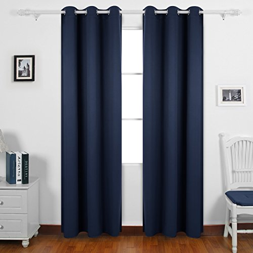Deconovo Room Darkening Curtains Grommet Thermal Insulated Blackout Curtain for Bedroom 42x95 Inch Navy Blue One Pair (Blue Curtains Navy)
