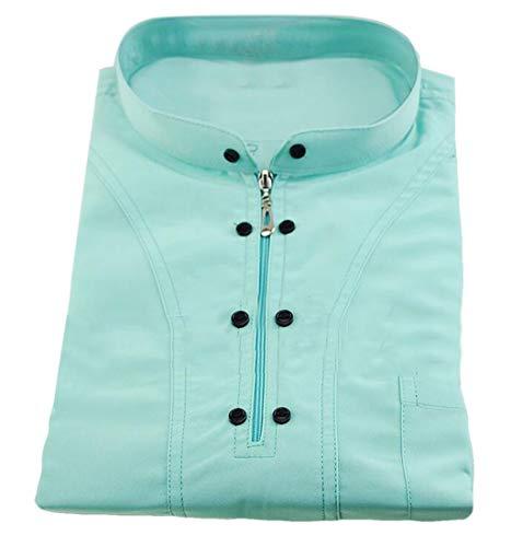 Jofemuho Men's Islamic Abayas Thobes Mock Neck Dubai Long-Sleeve Zipper Muslim Saudi Robe 2 XXS