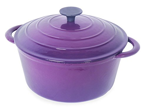 Spiceberry Home Cast-Iron Enamel Dutch Oven, 5-1/2 Quart, Eggplant Purple