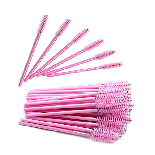Quewel lash Disposable Eyelash Mascara Wands Brushes Cosmetic Eyelash (50PCS, Full Pink)