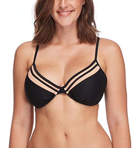 Body Glove Women's Solo Underwire D, DD, E, F Cup Bikini Top Swimsuit, Scandal Ribbed Black, D Cup