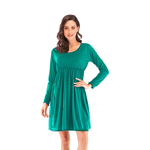 iQKA Women 2019 Spring O Neck Casual Solid Long Sleeve Casual Loose Swing Beach Party Mini Tunic Dress(Green,XL -