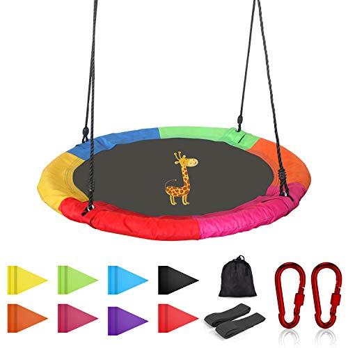 Joychoic Tree Swing,Extra Large 40 Diameter Outdoor Tree Swing,Bonus Swing Straps Set of 2,Flag Set and 2 Carabiners