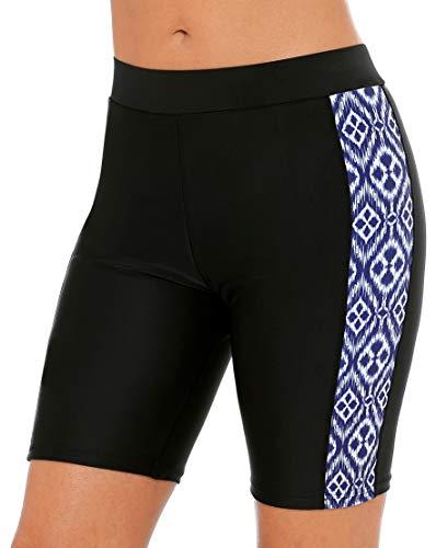 ATTRACO Women's Long Board Shorts High Waist Swim Bottom Solid Jammer Swim Shorts