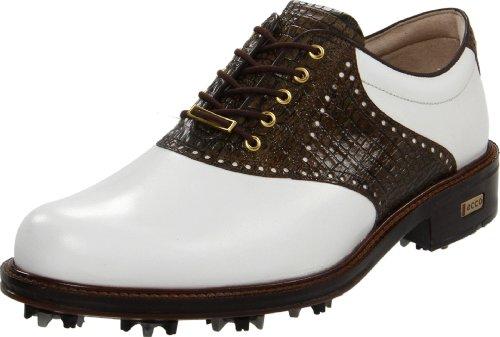 ECCO Men's World Class Golf Shoe,White/Rustic Brown,47 EU/13-13.5 M US