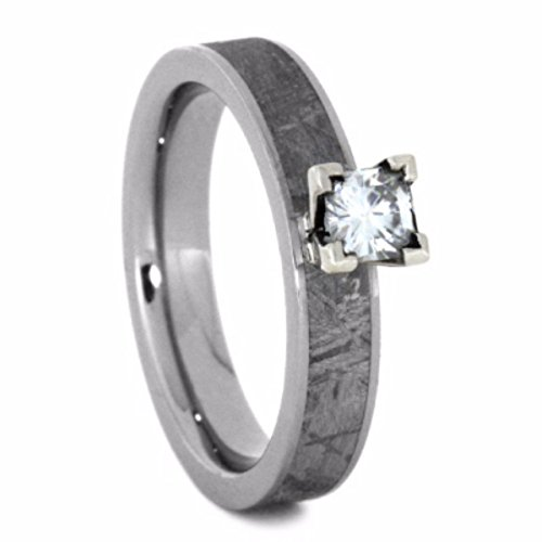 Charles & Colvard Moissanite, Gibeon Meteorite 4mm Comfort-Fit Titanium Wedding Band, Size 4.25 by The Men's Jewelry Store (for HER)