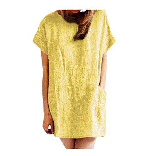 T Shirt Dresses for Women with Pockets Summer Short Sve Loose Casual Swing Dress Beach ni Dress Sundress Yellow ()