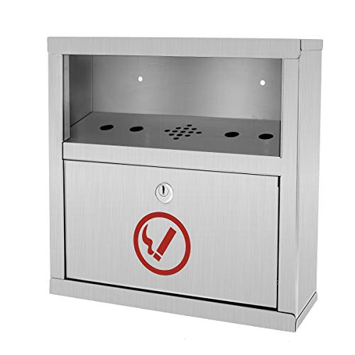 - Alpine Industries Quick Clean Wall Mounted Cigarette Disposal Bin - Industrial Grade Dumping Box - Easy Use Cigarette Waste Unit- for Public Area Use