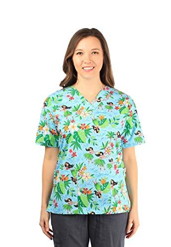 - Made in Hawaii Hawaiian Print Cotton 2 Pockets Scrub Top in Hula Girls Palms Blue S