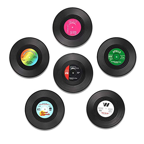 6 PCS Coasters for Drinks Funny Vinyl Record Disk Coaster with Gift Box, Effective Protection of the Furniture to Prevent - Record Coasters