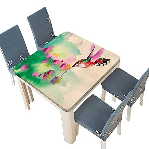 PINAFORE Polyester Tablecloth Art Colibri Bird Flowers Romantic Springtime Tropics Nature Decor Green Fuchsia Easy Care Spillproof 37.5 x 37.5 INCH (Elastic Edge) (Lycra Top Tropic)
