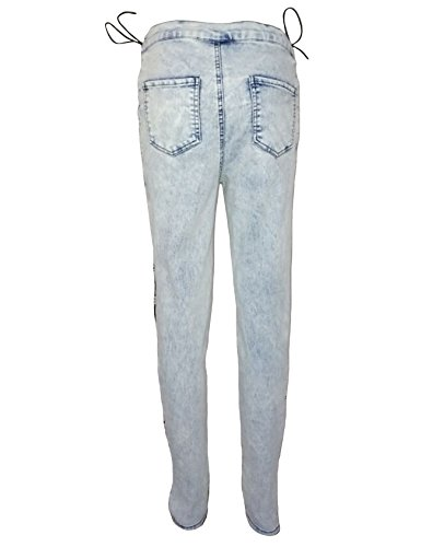 Pantalon L Legou jeans bandage denim Punk out Croix en Femme clair Hollow Bleu Cqpw5R