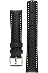Signature Carbon watch band. Replacement watch strap. Genuine leather. Silver Buckle