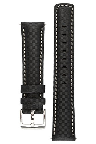 signature-carbon-black-with-white-24-mm-extra-long-watch-band-replacement-watch-strap-genuine-leathe