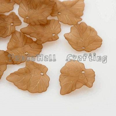 (Calvas 100pcs Frosted Transparent Pendants Acrylic Grape Leaf Charms for Jewelry Making 24x22.5x3mm - (Color: Chocolate))