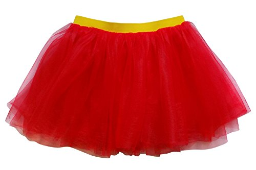 Superman Womens Costume (So Sydney Adult, Plus, Kids Size Superhero Tutu Skirt Halloween Costume Dress Up (XL (Plus Size), Red & Yellow)