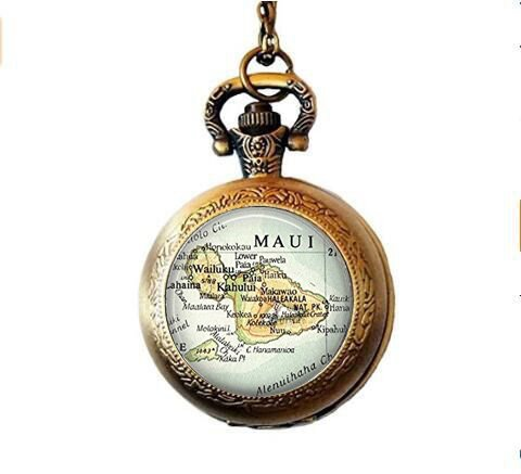 SnowFlower Maui Hawaii Map Pocket Watch Necklace, Anniversary Gifts for Men, Hawaiian Pocket Watch Necklace, Gifts for Best Friend, Boyfriend Gift, Fathers Gifts, Hawaiian Map