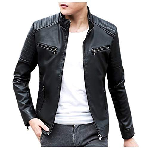 Beautyfine Jacket Leather Men Winter Biker Motorcycle Zipper Long Sleeve Coat Top Blouses (Vintage Classic Motorcycles For Sale In India)