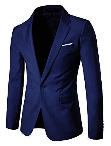 Color Para Navy Qiusa Negocios Un Y Hombres Liso Solo Botón Abertura De Sg Tamaño color Con Lateral Blazer 7qqxgt