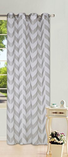 GorgeousHomeLinen (S37) 1 PC Chevron Pattern Design Voile Sheer Two-Tone Window Curtain Drape Panel 8 Silver Grommets 55