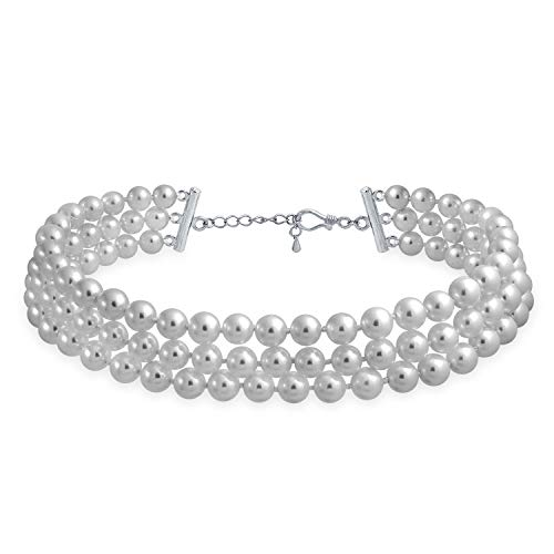 Bling Jewelry Bridal Hand Knotted 3 Row Wide Grey Simulated Pearl Strand Choker Collar Necklace for Teen for Women Silver Plated (3 Row Necklace)