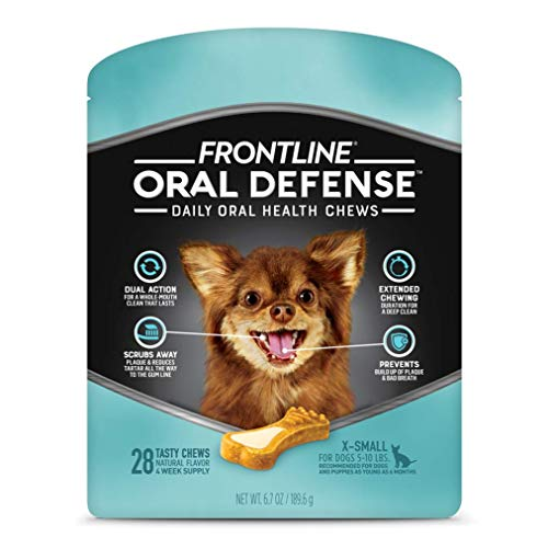 FRONTLINE Oral Defense Daily Oral Health Chews for X-Small Dogs (5-10 lb) 28 Chews
