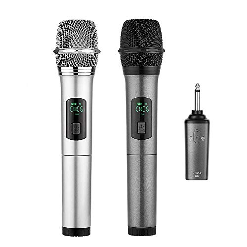 ARCHEER Dual Bluetooth Wireless Microphone, UHF Handheld Dynamic Microphone and Bluetooth Receiver with 1/4