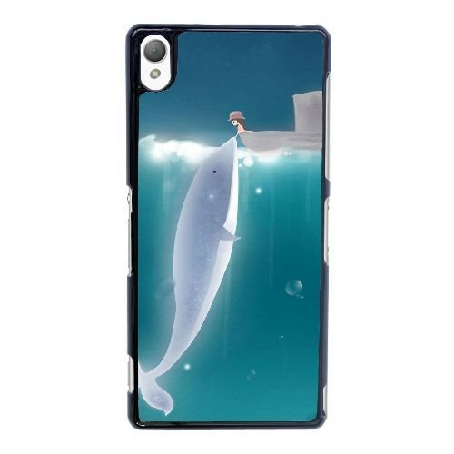 Dolphin Bamboo Patterns - Sony Xperia Z3 Case,Cute Dolphin Pattern Durable Hard Plastic Scratch-Proof Protective Case,Black