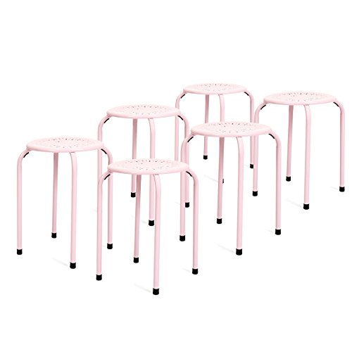 Best Choice Products 6-Pack Backless Round Top Metal Stools (Pink) (Top Furniture)