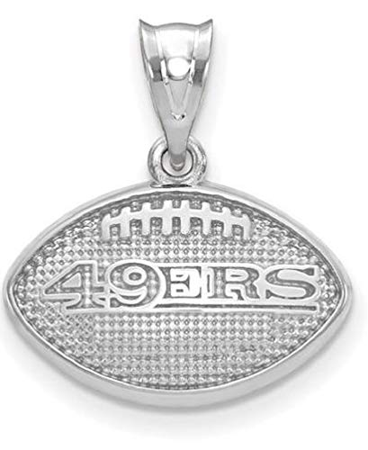 (Q Gold NFL Sterling Silver LogoArt San Francisco 49ers Football with Logo Pendant)