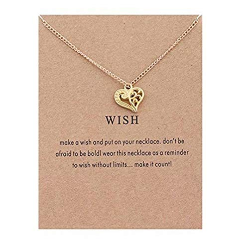 LOSOUL Clavicle Necklace Balance Message Card, Small Dainty Pendant,Greeting Card with Best Wish, Delicate and Classy Party ()