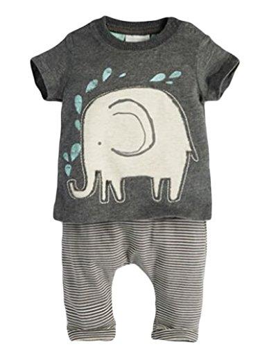Baby Jungen Kurze Hülse Elefant T-Shirt und gestreifte Hosen-Kleidung set (80(3-9M))