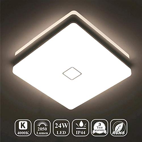 Airand 24W LED Flush Mount Ceiling Light 4000K 12.6 inch Square LED Ceiling Lamp Fixture for Kitchen, Hallway, Bathroom, Stairwell, 2050 Lumens, 80Ra+, Waterproof IP44 Ceiling Lights (Bright White)