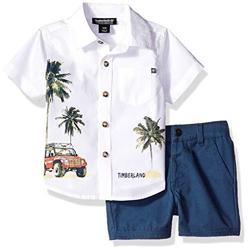 Timberland Baby Boys 2 Pieces Shirt Shorts Set, White/Blue, 24M (Toddler White Timberland)