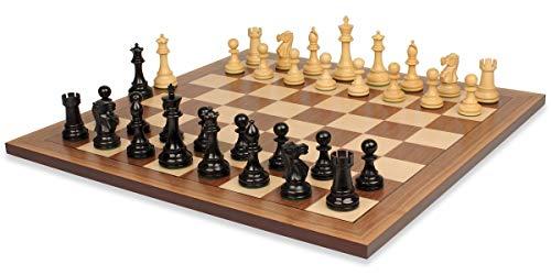 (British Staunton Chess Set Ebonized & Boxwood Pieces with Classic Walnut Chess Board - 4