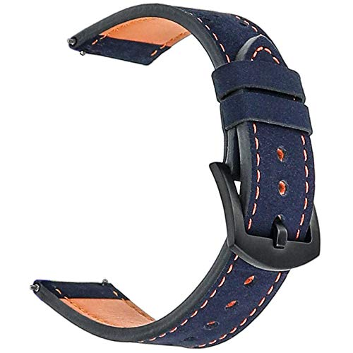 Galaxy Watch 46mm Band, Gear S3 Bands, for Samsung Gear S3 Frontier Classic 22mm Watch Band Leather, Screen Protector 1pcs, for Samsung Galaxy Watch 46mm Band Men Women Smart Watch Strap (Navy Blue)