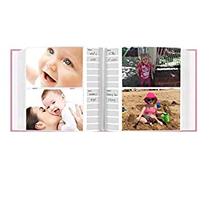 Pioneer Photo Albums 200-Pocket Embossed Baby Leatherette Frame Cover Album for 4 by 6-Inch Prints, Pink