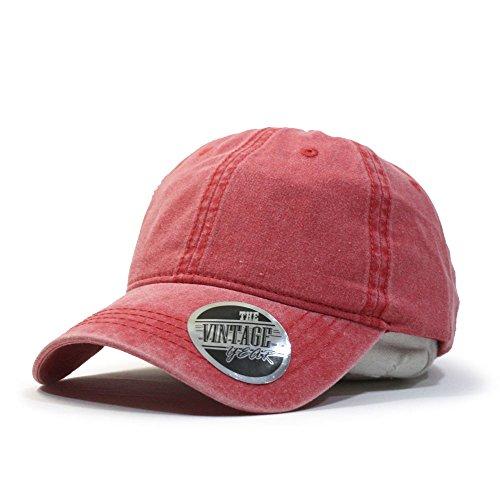 (Vintage Year VintageYear Plain Washed Dyed Cotton Twill Low Profile Adjustable Baseball Cap)