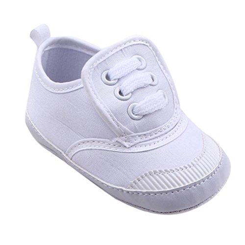 Zapatos De Bebé, RETUROM venta caliente suave para bebé nuevo estilo zapatos de la muchacha del bebé de la cuna suavemente único zapatilla de deporte Blanco