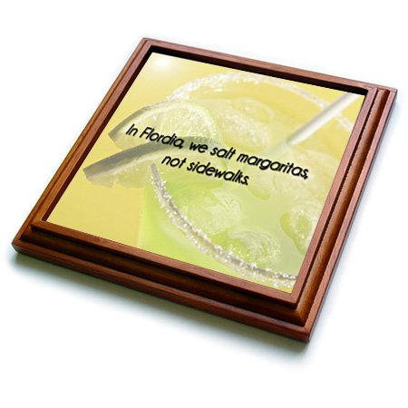 3dRose trv_173284_1 In Florida, We Salt Margaritas, Not Sidewalks Green and Yellow Background Trivet with Ceramic Tile, 8 by 8