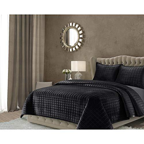 Tribeca Living FLORENCEQUIKIBL Florence Velvet Oversized Solid Quilt Set, King, Black (King Quilts Size Velvet)