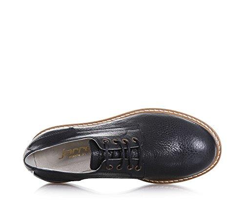 JARRETT - Schwarzer Schuh mit Schnürsenkeln aus Leder, made in Italy, auf der Zunge ein Logo, sichtbare Nähte, Jungen