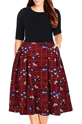 Nemidor Women's Floral Print Vintage Style Plus Size Swing Casual Party Dress (16W, Wine Grid)