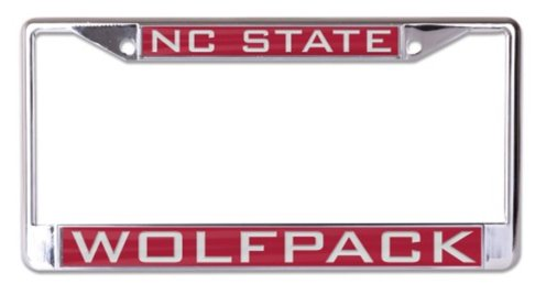 (NCAA North Carolina State University Wolfpack Inlaid Metal License Plate Frame, 2-Tag Corners ...)