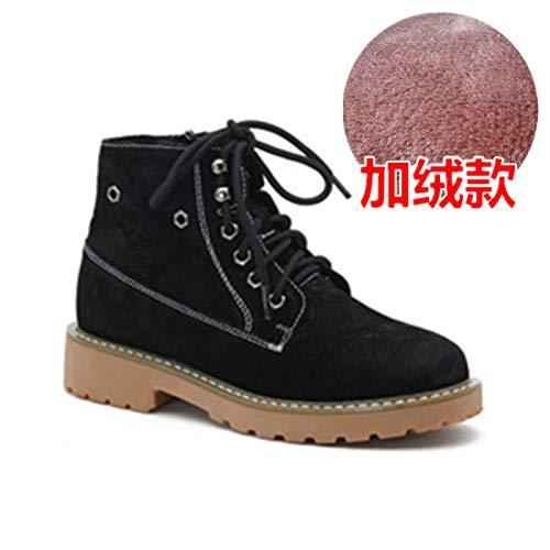 Shukun Stiefeletten Herbst und Winter Flaches Bodenband Stiefel PU Retro schwarz schwarz Retro männlich Paar Martin Stiefel weiblich 8f1227