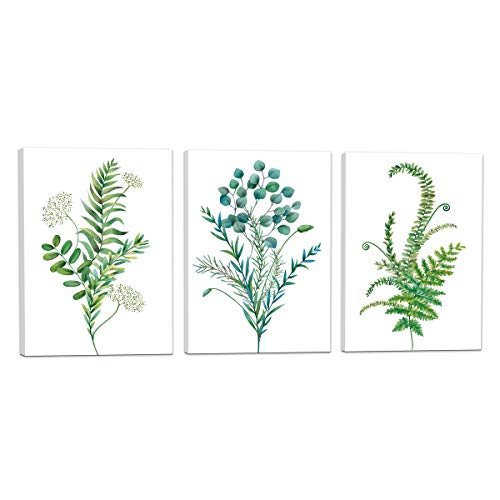 - Wall Art For Bedroom 3 Panel - Watercolor Style Tropical Plant Green Leaves - Giclee Print Gallery Wrap Modern Framed Artwork Canvas Prints Ready to Hang for Home Decoration - 12