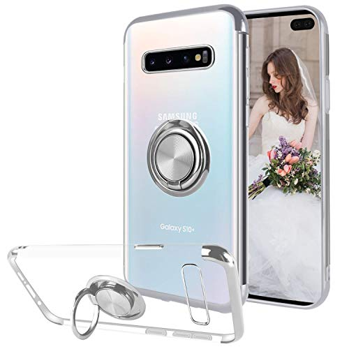 Ownest Compatible with Samsung S10 Plus Case with Built-in 360 Rotatable Ring Kickstand Fit Magnetic Car Mount and Clear Transparent Soft Slim TPU Protective for Samsung S10 Plus-Silver - Case Fit Phone