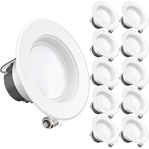 - Sunco Lighting 10 Pack 4 Inch LED Recessed Downlight, Baffle Trim, Dimmable, 11W=40W, 3000K Warm White, 660 LM, Damp Rated, Simple Retrofit Installation - UL + Energy Star