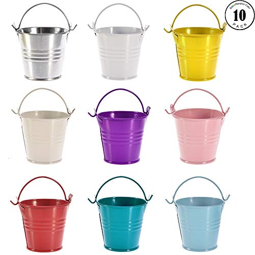 Gaiatop Mini Buckets, 10 Small Metal Goody Bucket with Handle Tin Pails Containers for Party Favors Candy Votive Candles Trinkets Small Plants Wedding Christmas Birthday Random Color -